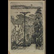 Harriet dene Roudebush (1908 -1998) American California artist San Francisco street scene etching pencil signed