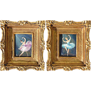 A PAIR oil on tin paintings of ballerinas ballet dancers