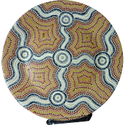 Ausralian Aboriginal art hand painted ceramic plate by artist Donna Goonan