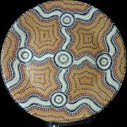 Ausralian Aboriginal art hand painted ceramic plate by artist Donna Goonan