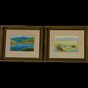 A PAIR small oil paintings of California landscape desert mountains lake scenes Gene Franquinet