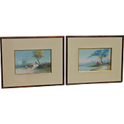 PAIR Reinaldo Manzke (1906 - 1980) well listed Brazilian artist gouache paintings of landscape with boats  buildings seascape