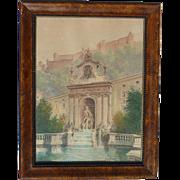 Rudolf Kargl (1878 - 1942) Austrian well listed artist watercolor painting Neptune Fountain