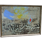 Contemporary modern abstract painting dated 1967 signed Kohl