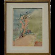 Leon Saulter (1908 - 1981) American Polish California Contemporary Modern artist watercolor ink painting