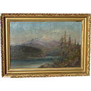 American 19th century high mountains lake impressionist oil painting