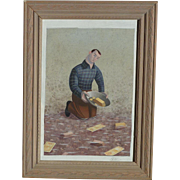 Jon Krause American Philadelphia artist whimsical painting of a young man panning for gold in a stream