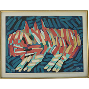 Karel Appel (1921 -2006) Dutch Artist Bright Colors Abstract Clown Cat Lithograph Signed