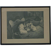 Mervin Jules (1912 -1994) American listed artist pencil signed lithograph