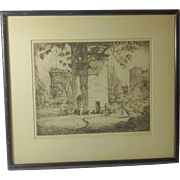 """New York  street scene """"Washington Square"""" pencil signed etching by well listed American artist James Sanford Hulme (1900 - 1974)"""