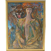 Sinar Minasyan American - Armenian contemporary gallery artist large impressionist painting of a attractive young lady and tiger