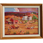 Bob Pettes (1922 -2015) Original Americana Scene naive folk art style painting by noted illustrator artist