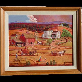 Bob Pettes (1922 -2015) Original Americana Scene naive folk art style painting by noted illustrator artist