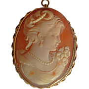Large vintage carved shell cameo 14K gold beautiful young lady portrait face 15.4 grams