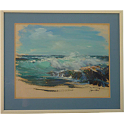 Joyce Clark (1916 -2010) American listed artist seascape oil on paper sketch painting