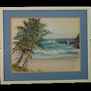 Joyce Clark (1916 - 2010) American listed artist Hawaii coconut palms against the seascape oil sketch painting