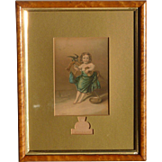 George Baxter (1804 -1867) Original Color Print Chromolithograph dated 1858 young girl feeding the bird