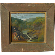 Old circa 1900's folk art river mountains landscape with kids figures painting