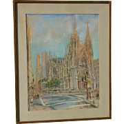 Kamil Kubik (1930 - 2011) American - Czech artist New York 5th Avenue St. Patrick's Cathedral  street scene pastel on paper painting