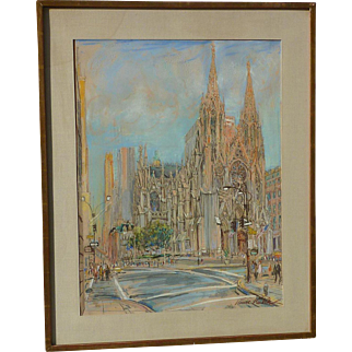 Kamil Kubik (1930 - 2011) American - Czech artist New York 5th Avenue St. Patrick's Cathedral  street scene pastel on paper painting
