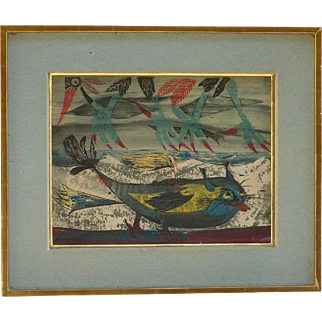 Paul Rene Gauguin (1911 -1979) Norwegian well listed artist color lithograph signed dated 1947 of a fantasy sea lion and birds
