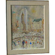 Kamil Kubik (1930 - 2011) American - Czech artist  skating in Central Park New York  original pastel on paper drawing painting