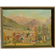 German  or Austrian circa 1948 signed M. Niemeier mountain trees landscape oil painting