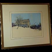 Marshall Woodside Joyce (1912 - 1998) American well listed artist winter scene watercolor painting