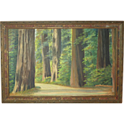 California redwoods hand paint enhanced photograph for tourist trade circa 1930
