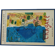 """Marc Chagall (1887- 1985) original lithograph poster """"FOUNDATION MAEGHT SAINT - PAUL . ALPES - MARITIMES. FRANCE"""" printed by Mourlot"""