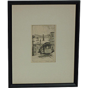 Harriet Gene Roudebush (1908 -1998) American California artist San Francisco street scene with cable car Alcatraz in a distance  etching pencil signed