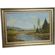 Kurt Moser (1926-1984) European German well listed artist impressionist lake trees hills landscape oil painting