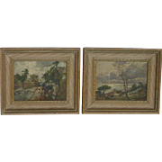 PAIR Giordano Felice (1880 -1964) Italian well listed artist impressionist landscape paintings