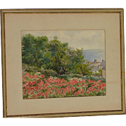 "Impressionist watercolor painting coastal landscape scene with the poppies and trees signed ""D. F."""