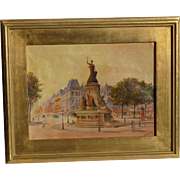 French oil painting of Place de la Republique in Paris by artist Baree