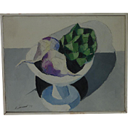 A. Vaccaro mid century still life oil on canvas painting of turnips and artichoke in the vase dated 1958