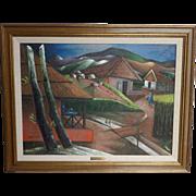 Jacques Enguerrand Gourgue (1930 -1992) important Haitian artist surrealist landscape oil painting