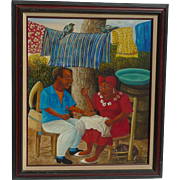 "Pierre Louis Riche (1954 -) Contemporary Haitian well listed artist painting titled ""Declaration d' Amour"""