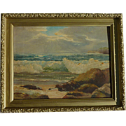 Verne Gladys Marie Baxter Duckworth (1904-1981) seascape sea oil on canvas painting