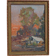 Vintage Northern California art impressionist plein air sundown landscape oil painting artist Luck Hinckley