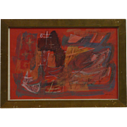 Louis Schanker (1903 -1981) mixed media abstract 1944 drawing painting by well listed American artist