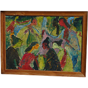 Indonesian art colorful energized painting of socializing women friends