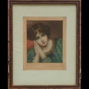 "Minnie Cormack (1862 - 1919) Irish artist painter engraver ""Desdemona"" color print mezzotint signed in pencil young woman portrait"