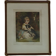 Elizabeth Gulland  (- 1934) English listed artist color mezzotint print young girl with a dog after Joshua Reynolds painting signed in pencil