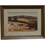Milford Zornes (1908 -2008) American California well listed artist watercolor landscape painting circa 1940
