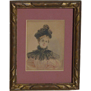 Watercolor painting of young Victorian lady woman signed B.Dille circa 1897