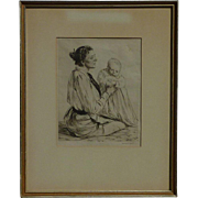 Francis Edgar Dodd (1874 - 1949) British well listed artist original drypoint etching of famous modernist 20th century writer Virginia Woolf with a child signed in pencil