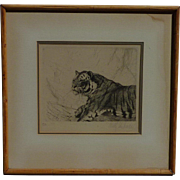 Friedrich Wilhelm Kuhnert (1865 -1926) well listed German artist original etching of tiger signed in pencil