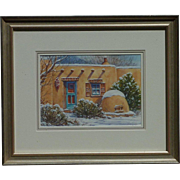 Marv Newton Contemporary New Mexico Southwest Gallery artist watercolor painting of adobe in snow
