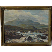 Scottish art signed impressionist contemporary mountains river landscape oil painting of Skye Mountains